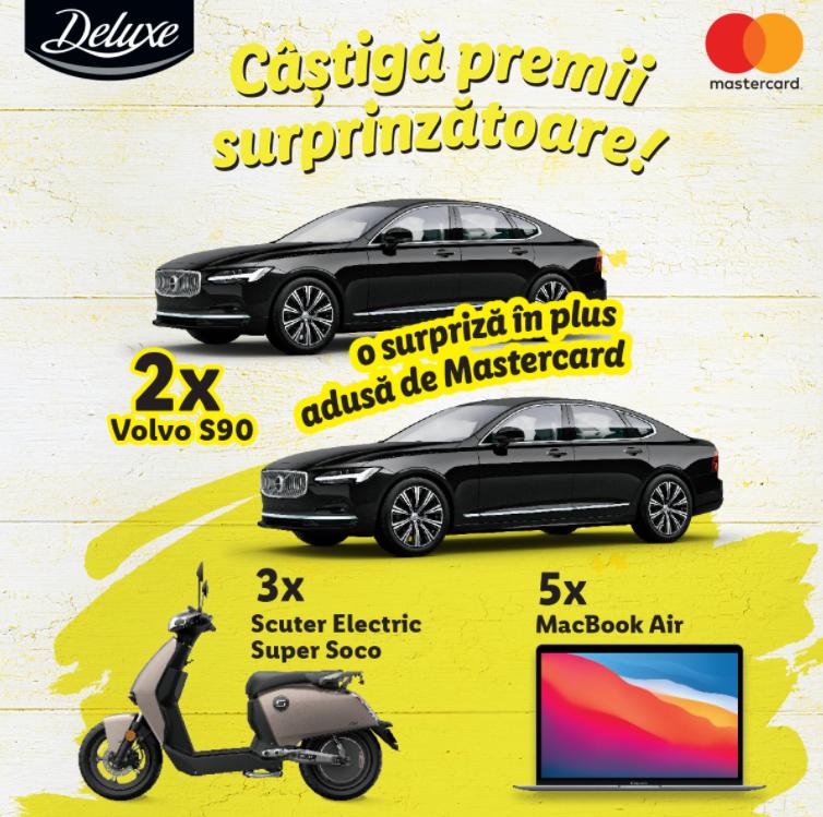 Concurs Deluxe si Mastercard - Castiga 2 autoturisme Volvo S90 - lidl - promotie - 2021 - apple - premii - castiga.net