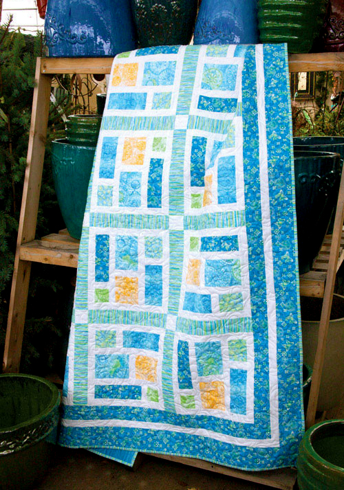 Sea Glass Queen Size Quilt Free Pattern designed by Kate Colleran of Quilting Company