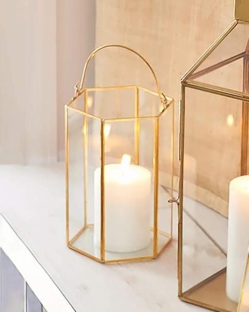 hexagon brass lantern with handle