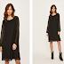 Rochie neagra casual lejera pana la genunchi cu maneci lungi transparente