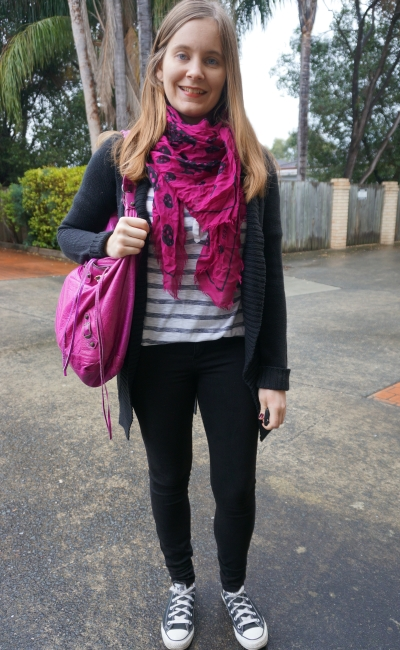 magenta accessories with striped henley and monochrome black outfit Converse winter | AwayFromBlue