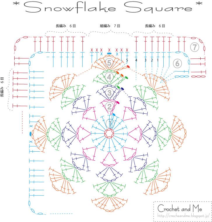 雪の結晶の四角モチーフの編み図【無料】