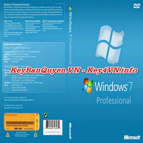 Mua bán key bản quyền Windows 7 Pro Full 32 và 64 Bit .