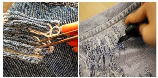 Process of Destroyed Jeans