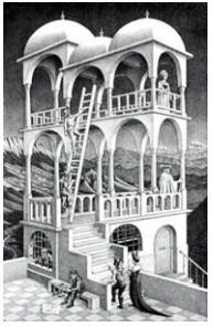 ENEM 2007: Representar objetos tridimensionais em uma folha de papel nem sempre é tarefa fácil. O artista holandês Escher (1898-1972) explorou essa dificuldade criando várias figuras planas impossíveis de serem construídas como objetos tridimensionais, a exemplo da litografia Belvedere, reproduzida ao lado.