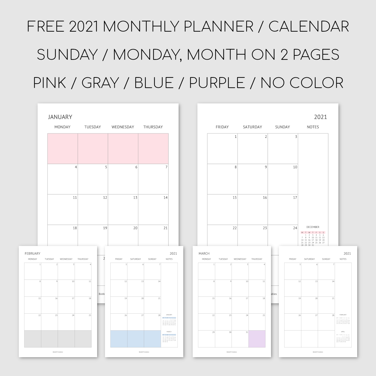 Printable 2021 Monthly Planner / Calendar - Month on 2 Pages