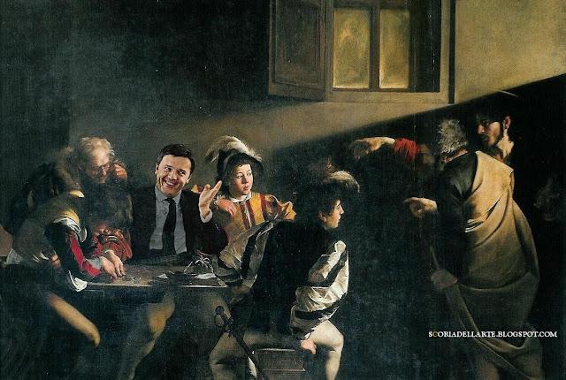 fotomontaggi politici in quadri famosi-Matteo Renzi-Caravaggio