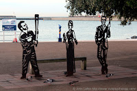 Two-dimensional silhouette statue of Jamie Clark, 2012 Olympic Torch holder; Dame Vera Lynn who sang There'll be Bluebirds over the White Cliffs of Dover in World War Two; Ian Fleming, author of 007 James Bond novels who lived at St Margaret's-at-Cliffe. Marine Parade.
