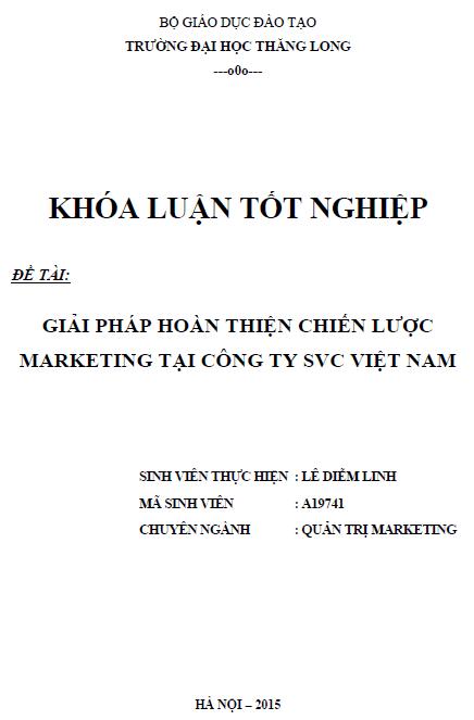 Giải pháp hoàn thiện chiến lược Marketing tại Công ty SVC Việt Nam