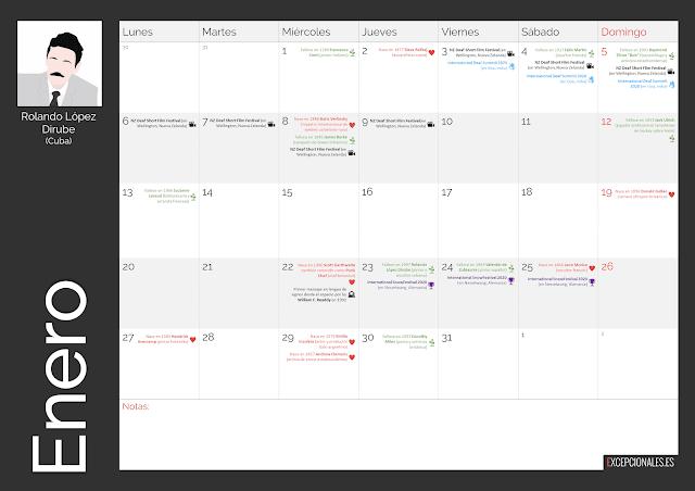 Calendario Excepcionales Enero 2020