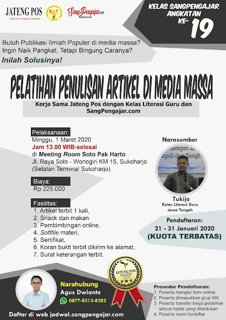 Pelatihan Penulisan Artikel di Media Massa Angkatan ke-19
