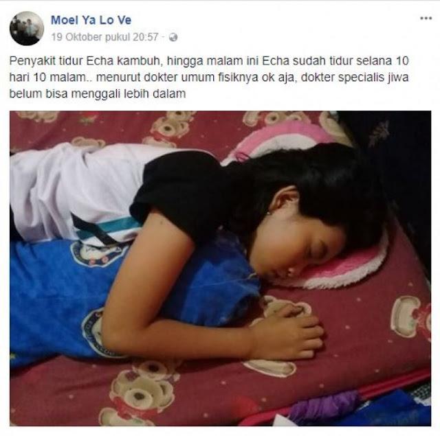 Tidur Selama 13 Hari Tanpa Bangun, Kisah Echa Bikin Netizen Heboh, Sang Ayah Ungkap Hal Ini