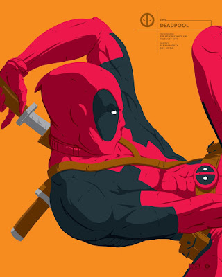 Deadpool Marvel Faceoff Portrait Screen Print by Florey x Grey Matter Art