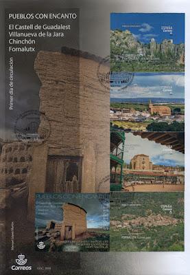 filatelia, sobre, matasellos, PDC, Pueblos con encanto, El Castell de Guadalest, Villanueva de la Jara, Chinchón, Fornalutx