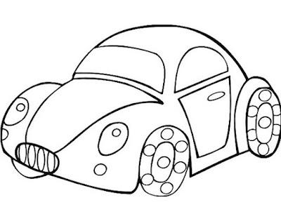 Gambar mobil sketsa yang mudah ditiru