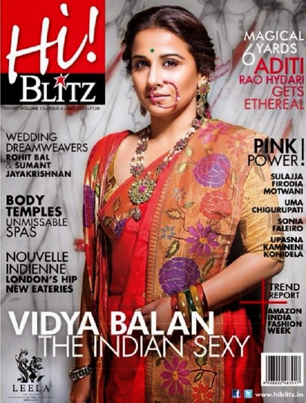 Vidya Balan Cover Page of HiBlitz Magazine May 2015