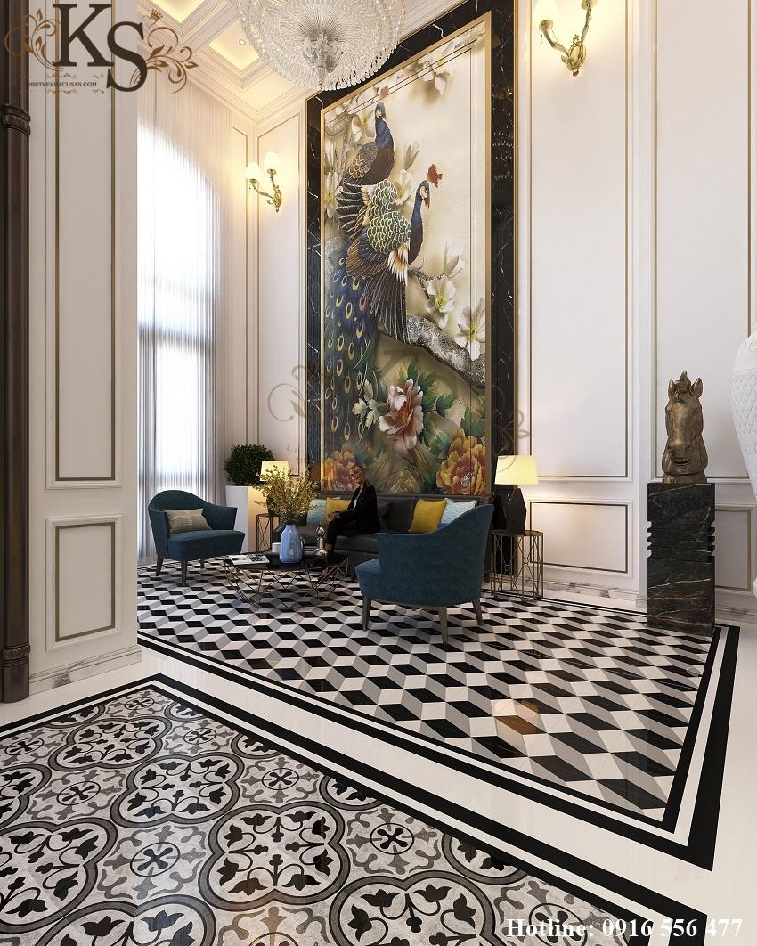 Hình ảnh: Thiết kế nội thất khách sạn 9 tầng La MaiSon sử dụng hệ thống màu sắc nổi bật, tạo ra vẻ đẹp thanh lịch và tinh tế.