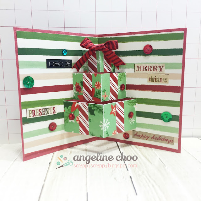 ScrappyScrappy: Christmas presents pop up card #scrappyscrappy #thecuttingcafe #svg #cutfile #christmas #card #sequin #popupcard #dcwv