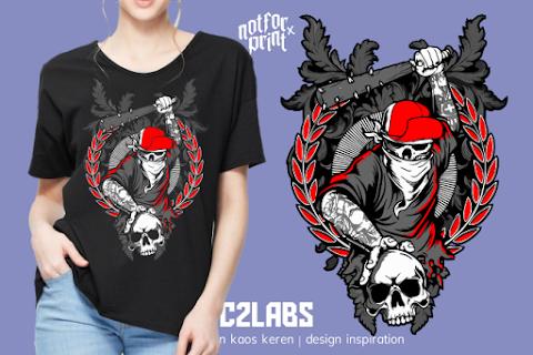 Kaos Skull Gangster - Contoh Desain Kaos Sablon Rubber Plastisol