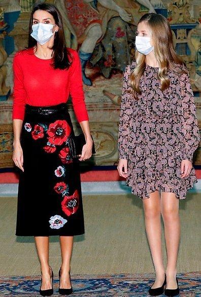 Queen Letizia wore a cashmere sweater from Hugo Boss, a poppy print knit skirt from Carolina Herrera. Infanta Sofia wore polka dot dress from Zara
