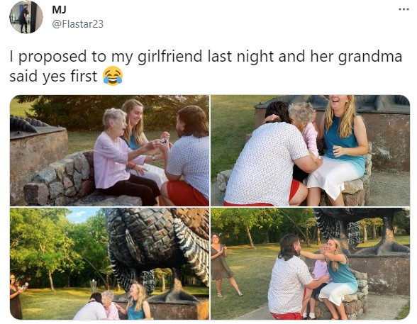 Moment Grandma says Yes as man Proposes to his girlfriend (Photos)