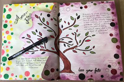 image tree outline in art journal with black pen and quotations from Epictetus