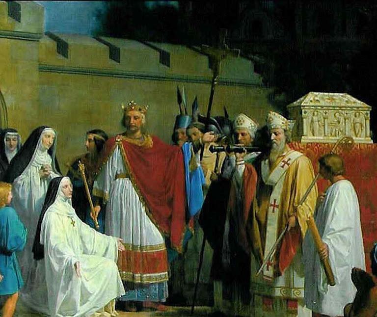 Carlos Magno consigna a Santa Túnica de Nosso Senhor ao mosteiro de Argenteuil. Basílica de Argenteuil, região de Paris.