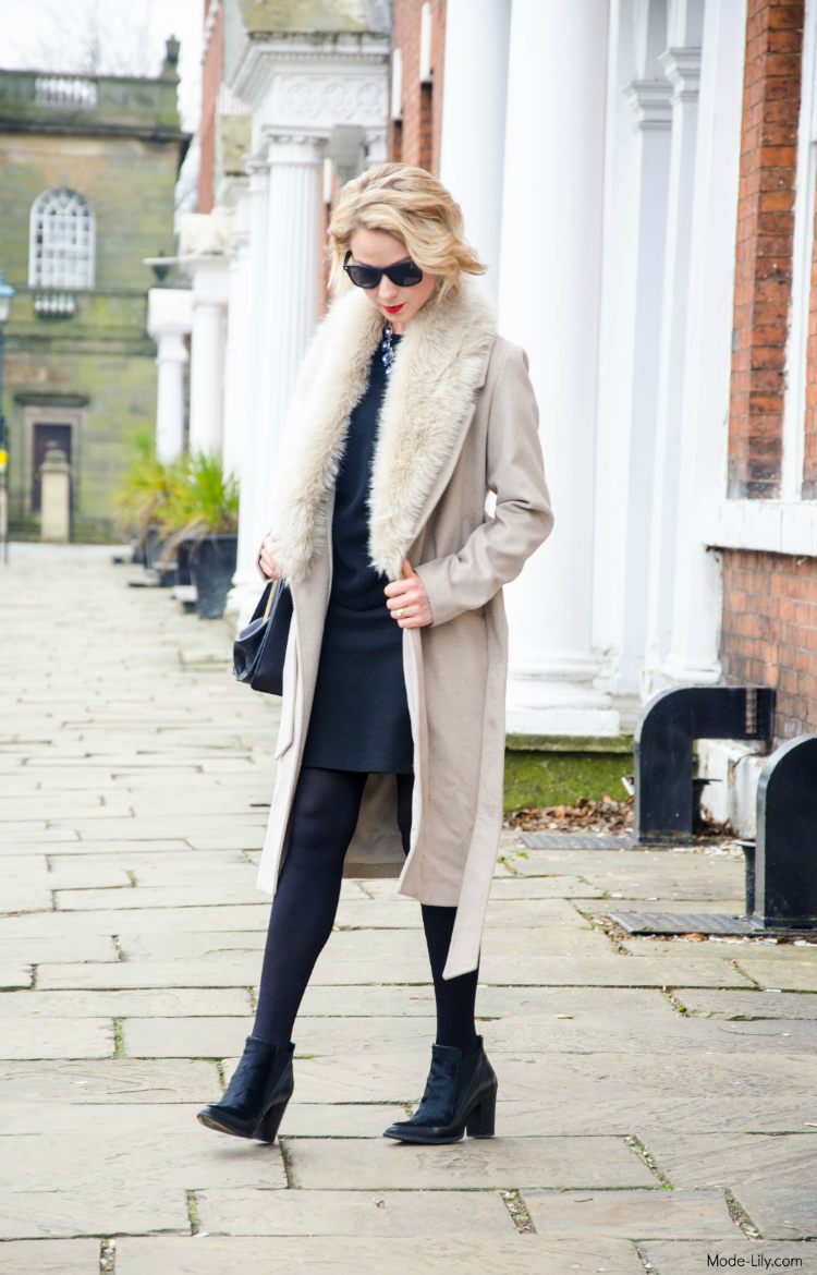Outfit Post: Styling Warehouse Winter Faux Fur Camel Coat