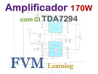 Circuito Amplificador 170W  em Bridge com Circuito Integrado TDA7294