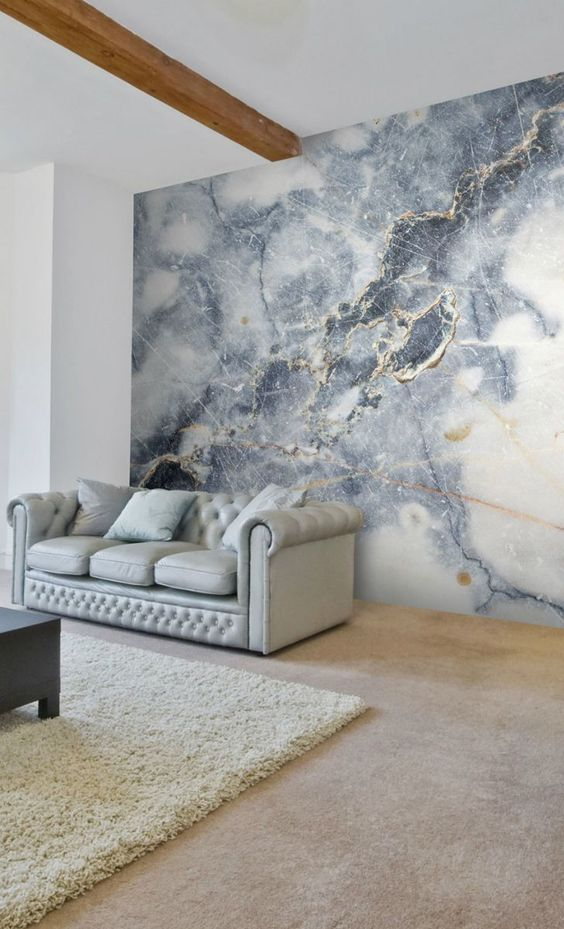 incredible interior design with a marble wall