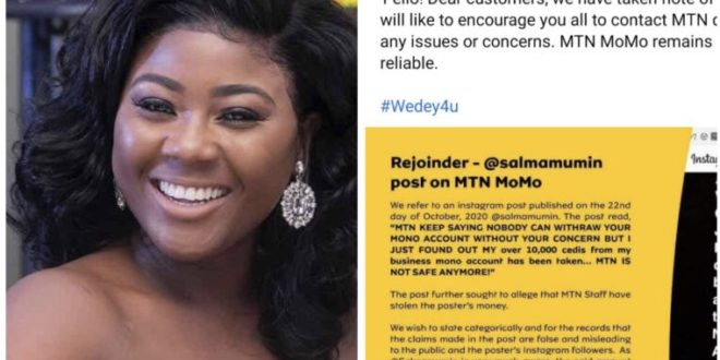 MTN threatens legal action against actress Salma Mumin over MoMo fraud allegation