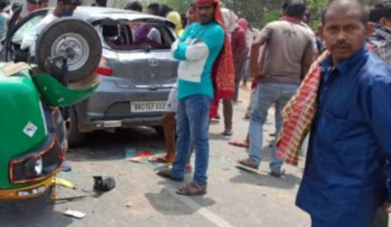 पटना में तेज रफ्तार कार ने मारी ऑटो को टक्कर, महिला की मौत, तीन घायल, कार चालक फरार, हंगामा