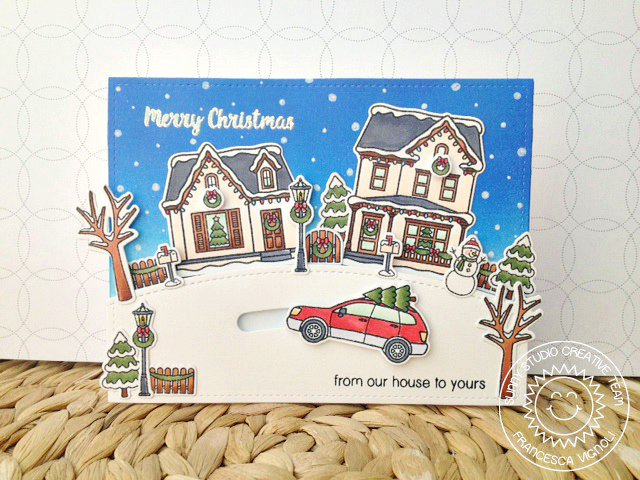 Sunny Studio Stamps: Christmas Home Winter Car with Christmas Tree Interactive Card by Francesca Vignoli