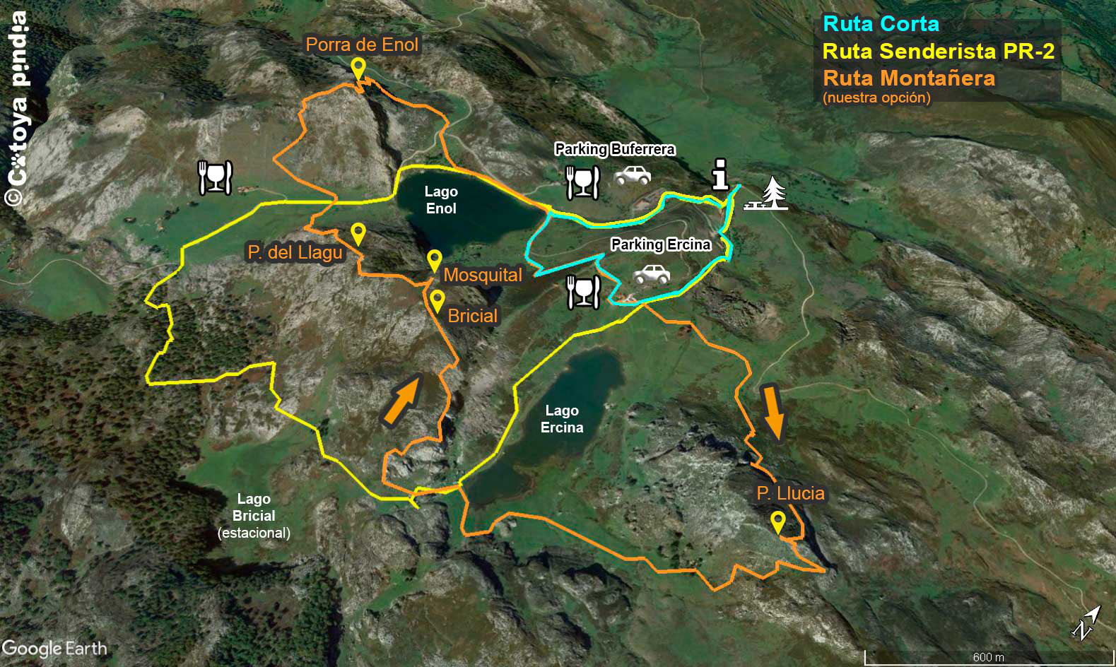 Mapa de la ruta a los Lagos de Covadonga en Picos de Europa.