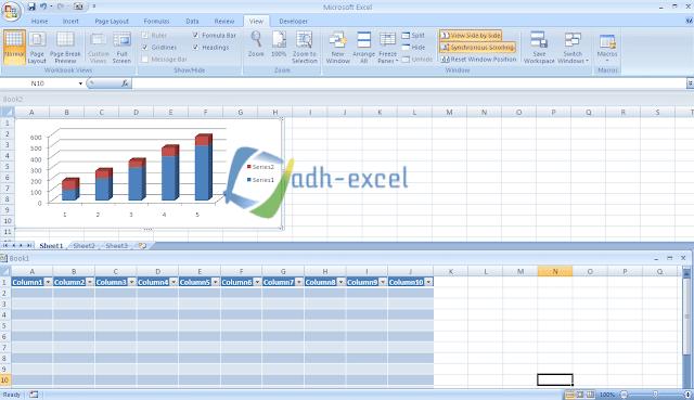 Menampilkan Dua File Excel Atau Lebih Secara Bersamaan Dalam Satu Layar Komputer Dengan Menu