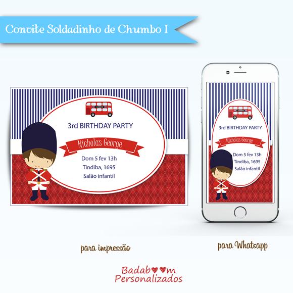 Kit de artes digitais para convite para imprimir e Wahtsapp no tema Soldadinho de Chumbo