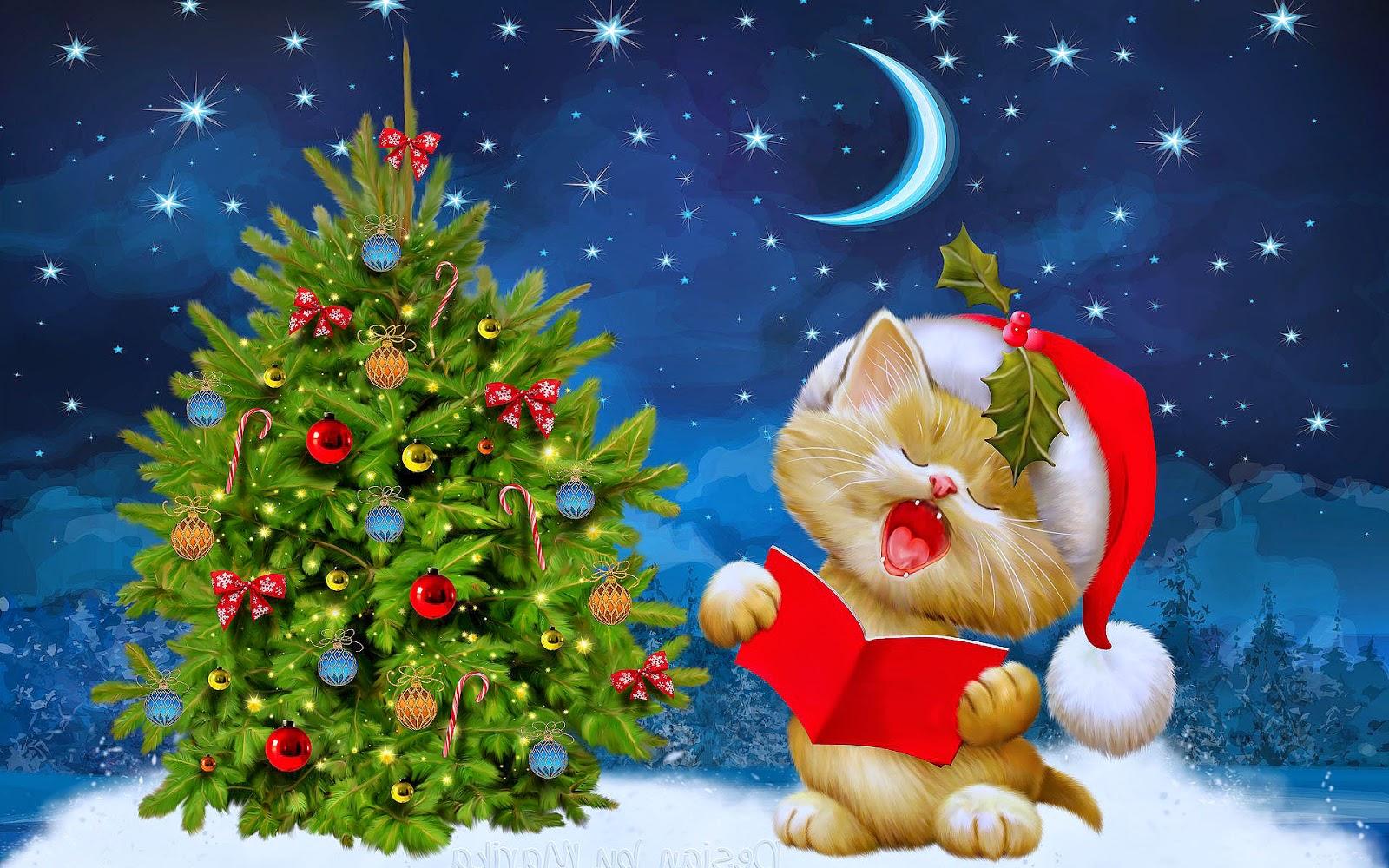 Kat met kerstmuts zingt met kerst bij de kerstboom