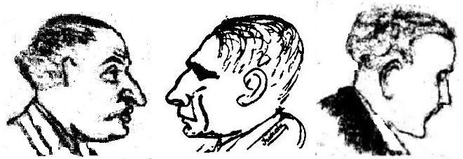 Caricaturas de Koltanowski,  Dr. Blum y Koblenz, realizadas por Irureta