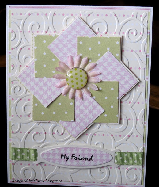 Pinwheel Quilt Card made by Carol of Our Little Inspirations, The Tutorial by OWH Stars and Stamps