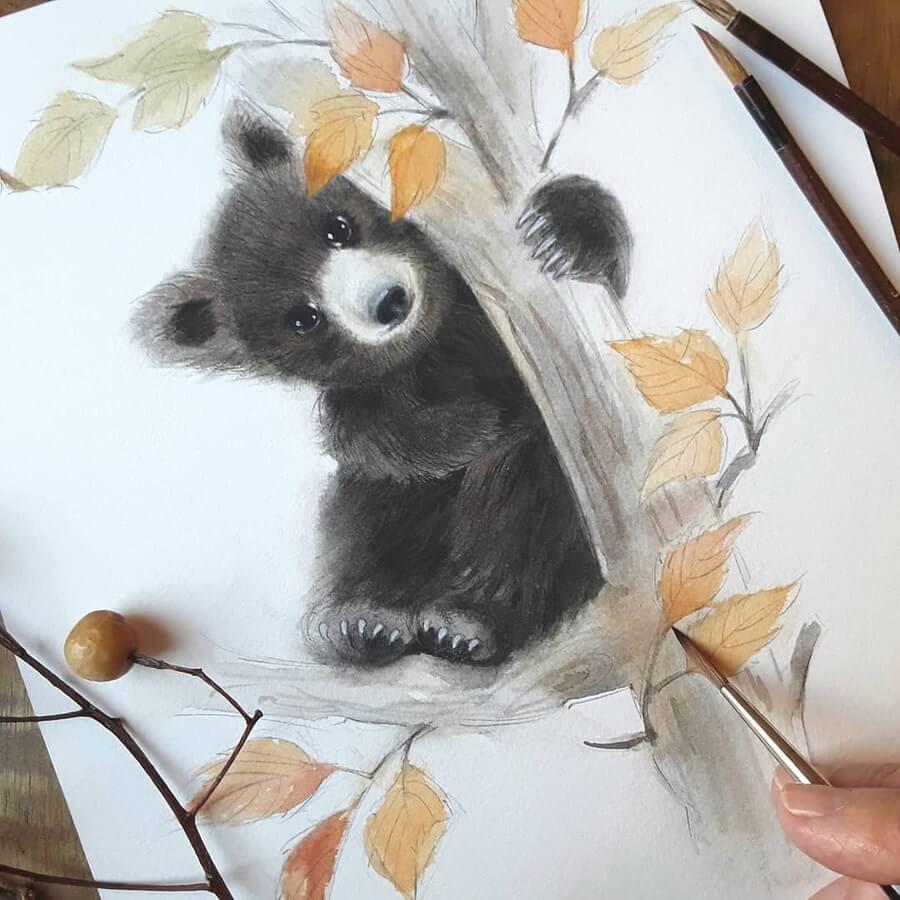 01-Baby-black-bear-Anna-Llorens-www-designstack-co