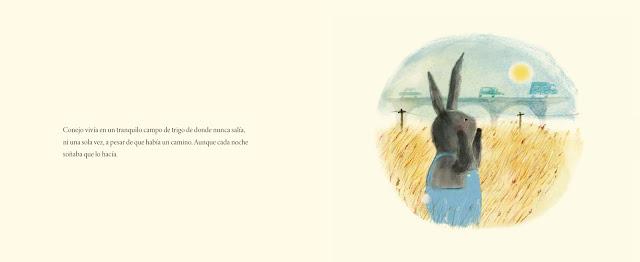 Página interior del álbum ilustrado Conejo y Motocicleta