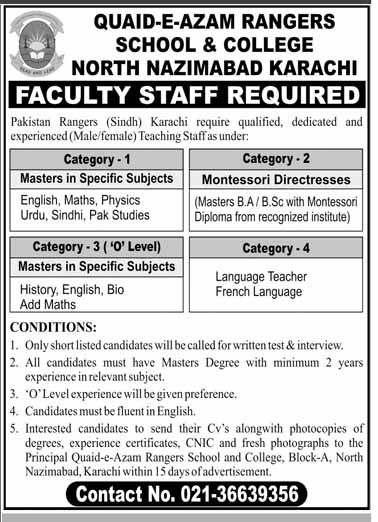 Teachers Jobs in Quaid E Azam Rangers School