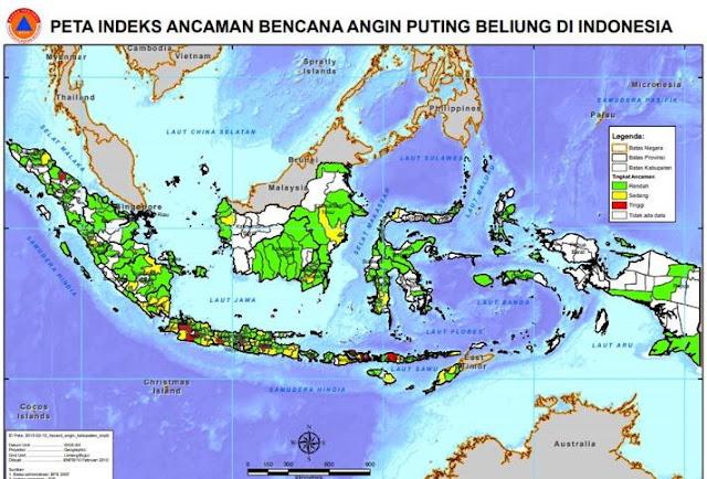 peta ancaman bencana angin puting beliung di indonesia