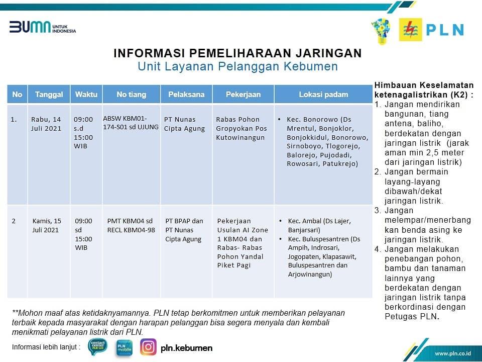 Berikut Jadwal Pemadaman Listrik di Kebumen Kamis 15 Juli 2021