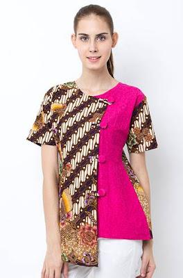 Desain Baju Batik Kombinasi Wanita Modern