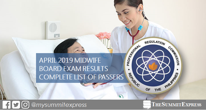 FULL RESULTS: April 2019 Midwife board exam list of passers, top 10
