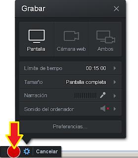 para iniciar la grabación de la pantalla solo debes dar clic sobre el botón rojo