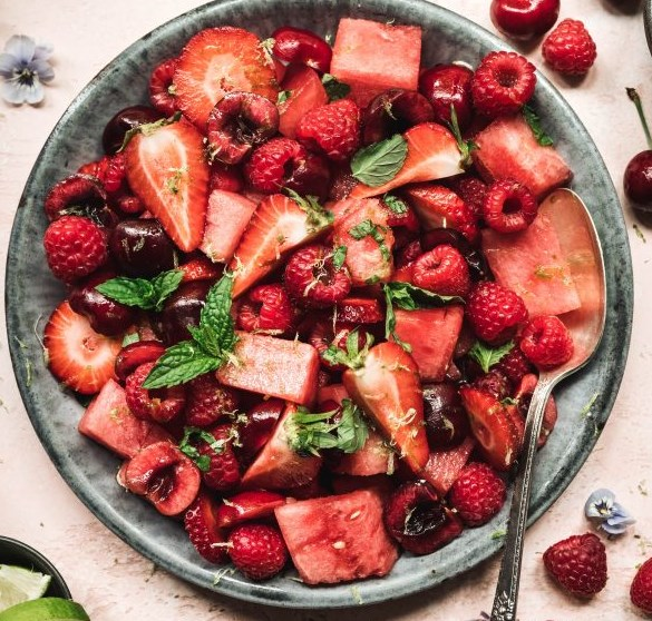 watermelon berry salad with lime mint dressing #healthy #summer
