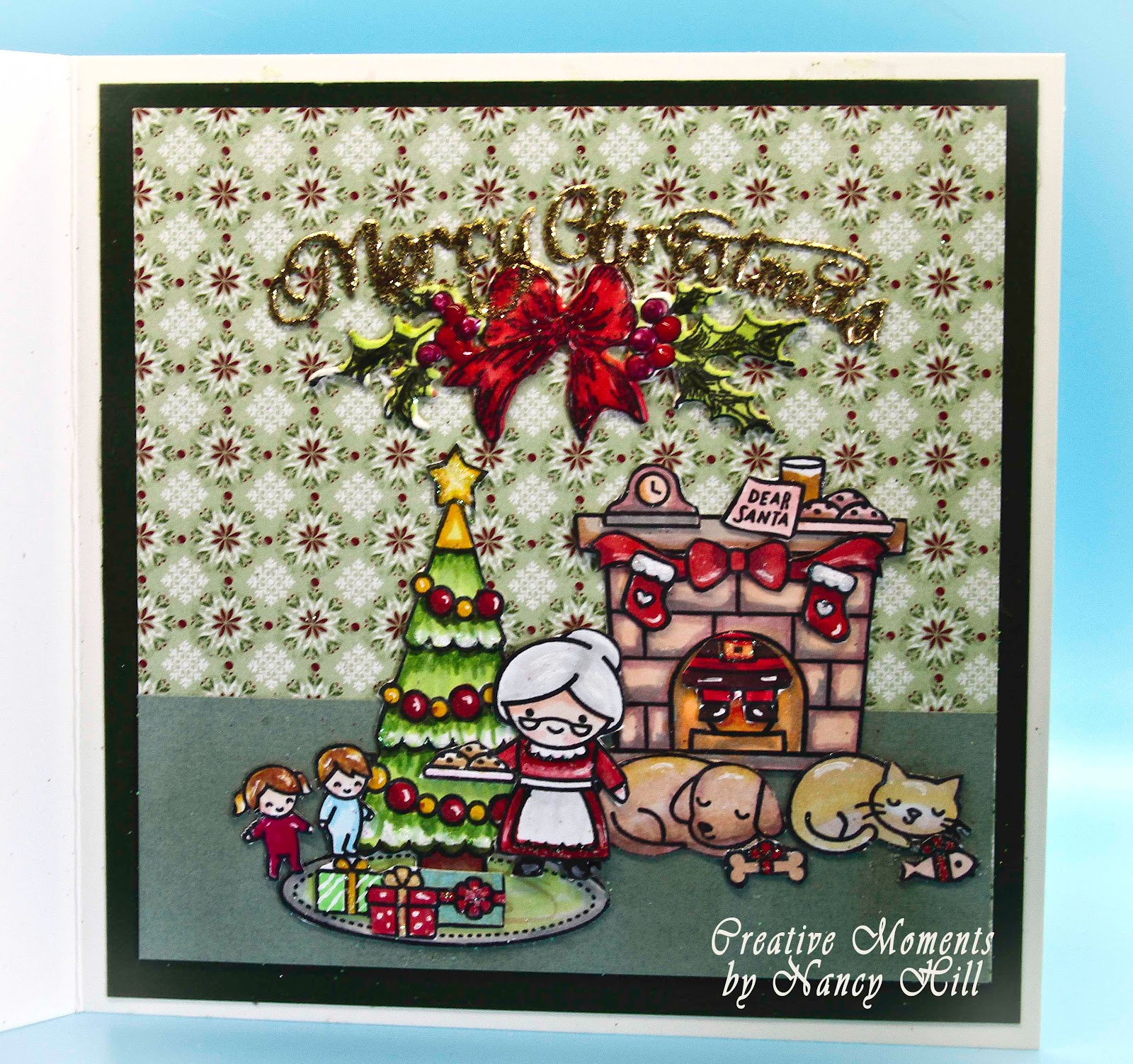 Handmade Christmas Card Cat Tree Fire Place  Using Lawn Fawn Stamps And Dies
