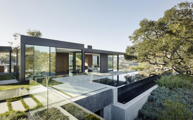 contemporary house with large glass door and glass fence